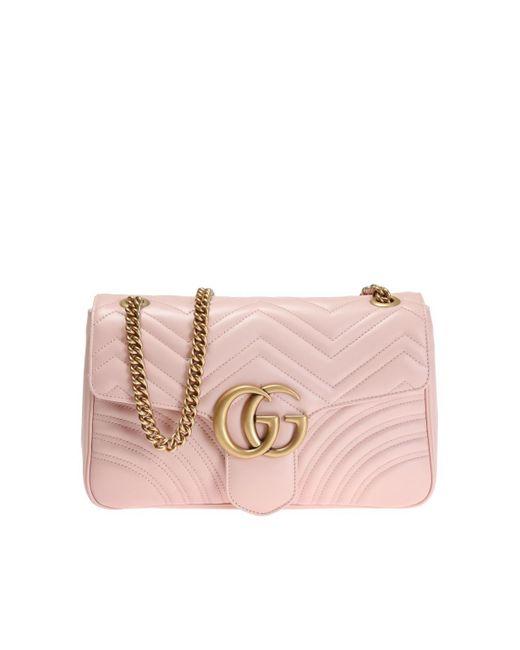 Gucci - Pink 'GG Marmont' Shoulder Bag - Lyst
