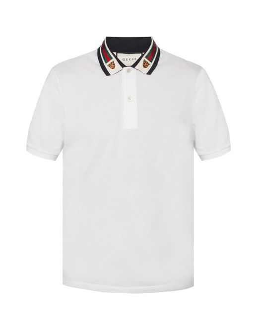 15134ab2c53c Gucci - White 'web' Polo for Men - Lyst ...