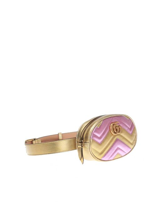 5ca1d6f4164 ... Lyst Gucci - Pink  GG Marmont  Quilted Belt Bag ...
