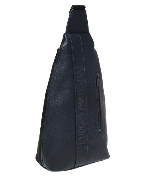 98bc5af60d ... Emporio Armani - Blue Branded One-shoulder Backpack for Men - Lyst ...