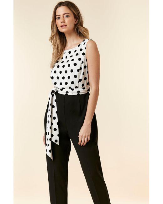 115fc1c97cc1 Wallis Petite Monochrome Polka Dot Tailored Jumpsuit in Black - Save ...