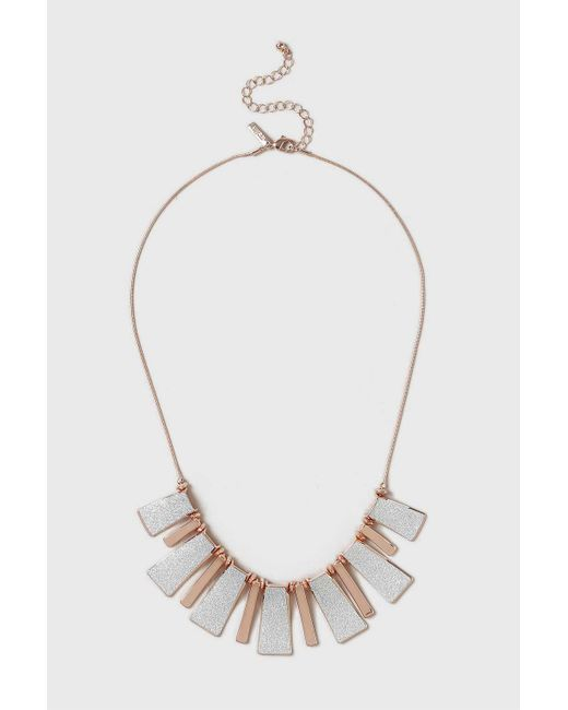 Wallis | Metallic Silver And Rose Gold Glitter Piano Necklace | Lyst