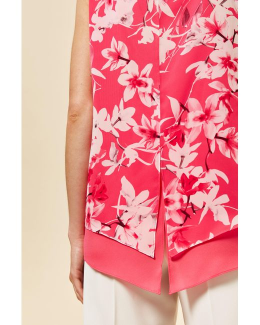 f1651f22452d ... Wallis - Petite Pink Orchid Print Overlay Top - Lyst ...