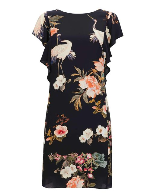 Wallis | Black Oriental And Bird Print Frill Shift Dress | Lyst