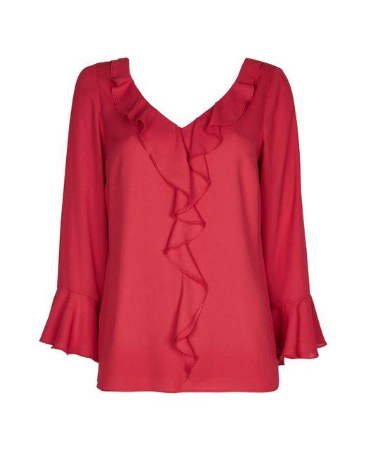 Wallis | Red Ruby Ruffle Top | Lyst
