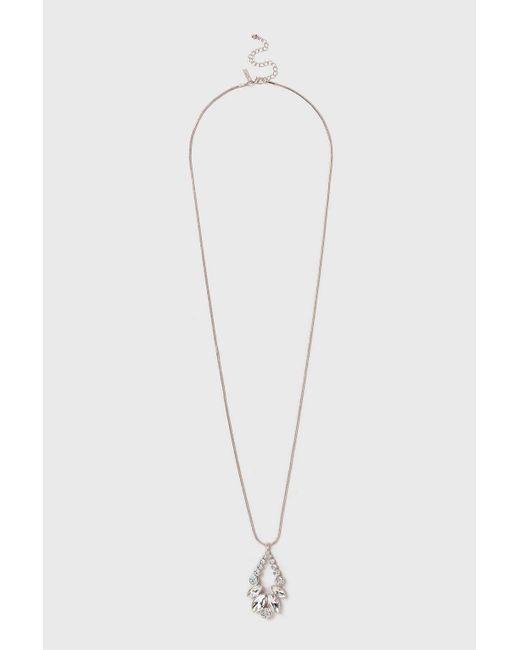 Wallis | Metallic Rose Gold Crystal Oval Drop Long Necklace | Lyst