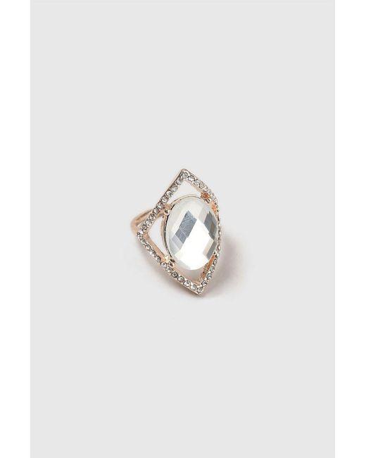 Wallis - Metallic Crystal Rose Gold Large Diamond Ring - Lyst