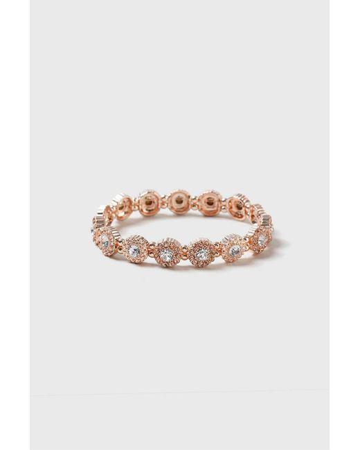 Wallis - Pink Rose Gold Floral Stretch Bracelet - Lyst