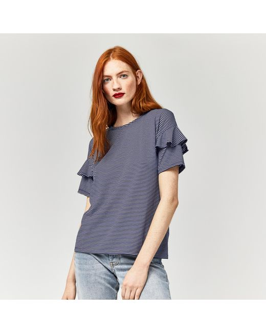 Warehouse | Blue Stripe Frill Sleeve Tee | Lyst