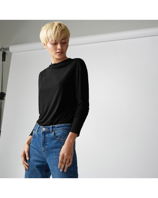 Warehouse | Black Grown On Neck Jersey Top | Lyst