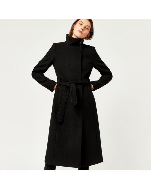 Warehouse | Black Longline Funnel Coat | Lyst