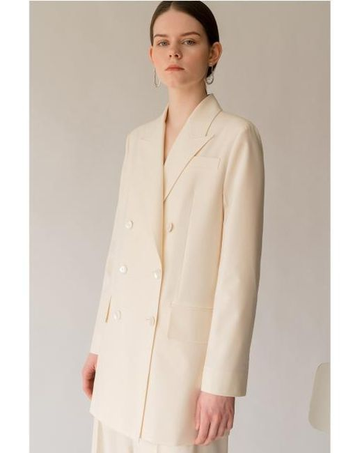 AEER - Natural Jacket Peaked Lapel Double Cr - Lyst