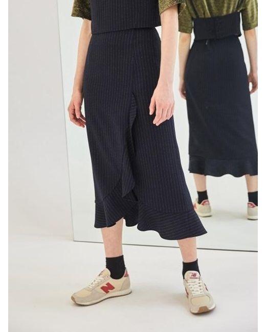COLLABOTORY - Blue Baama7004m Pin Stripe Ruffle Wrap Skirt - Lyst