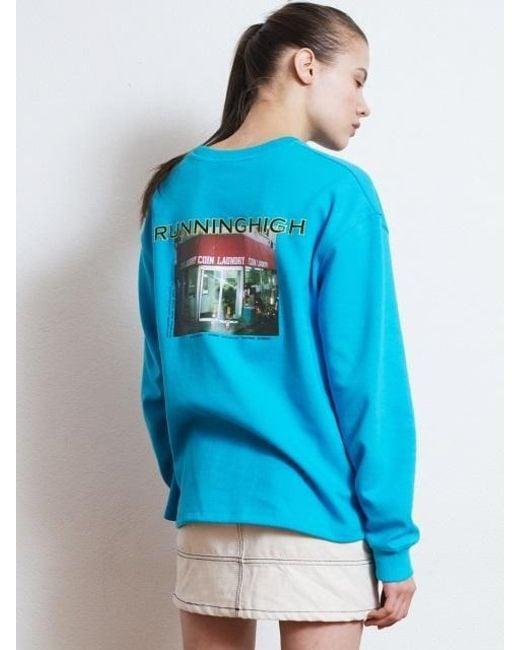 W Concept - [unisex] R Logo Picture Printing Sweatshirt Blue - Lyst