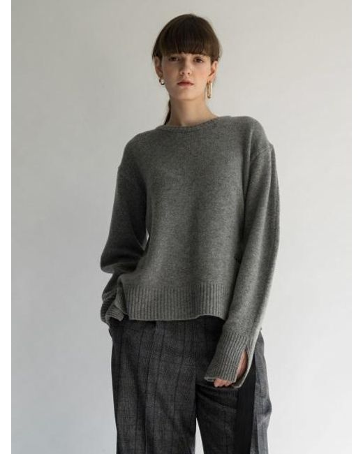 AEER | Gray Logo Embroidery Wool Cashmere Pull Over Stieglitz | Lyst