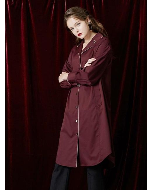 W Concept - Red Color Point Shirt Dress - Lyst