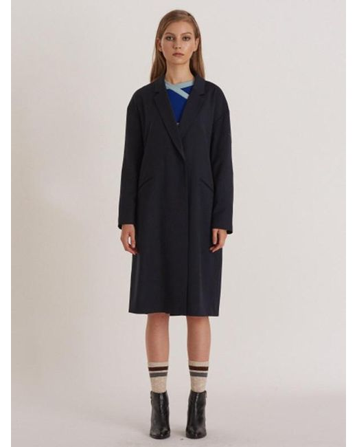 W Concept - Black Minimal Loose Fit Wool Coat-dress With Puppy Embro - Lyst