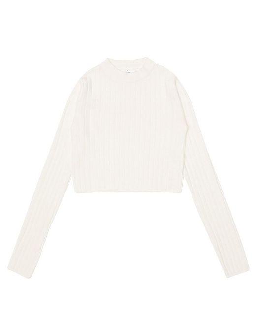 AMONG - White A Basic Crop Knit - Lyst