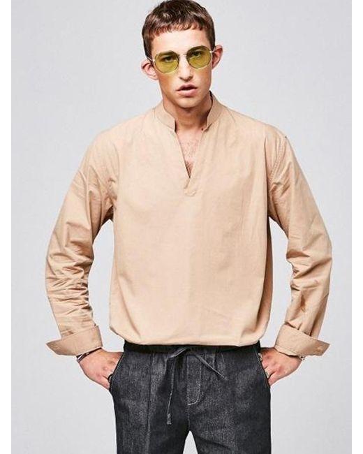 YAN13 - Natural V Neck Collar Shirts Beige for Men - Lyst