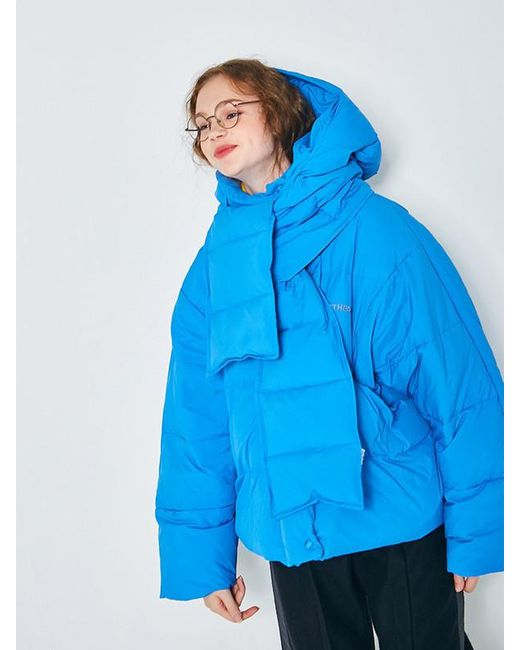 ANOTHER A - Blue Cap Hoodie Down Muffler 3colors - Lyst