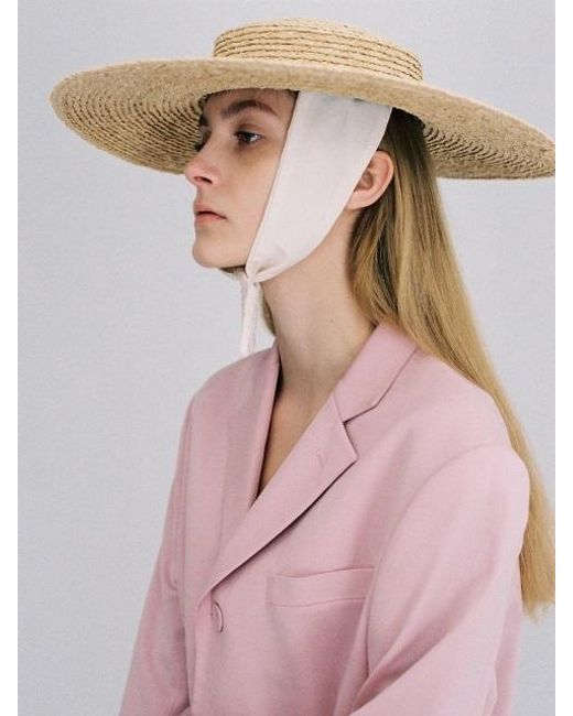 AWESOME NEEDS - Multicolor Raffia Straw Boater Hat_cotton Ribbon - Lyst