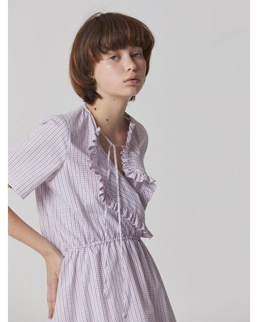 Bouton - Multicolor Check Ruffled Dress - White Check - Lyst