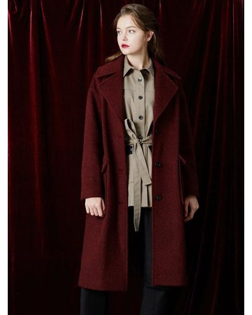 W Concept - Red Wide Collar Long Coat - Lyst