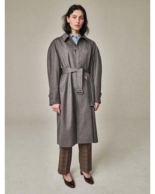 Bouton - Gray Blown Sleeve Trench Coat Grey Herringbone - Lyst