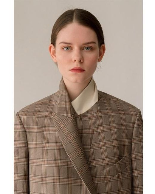 AEER - Natural Jacket Glen Check Wool Bg - Lyst