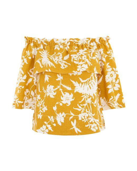 Whistles - Yellow Freja Cornfield Linen Top - Lyst