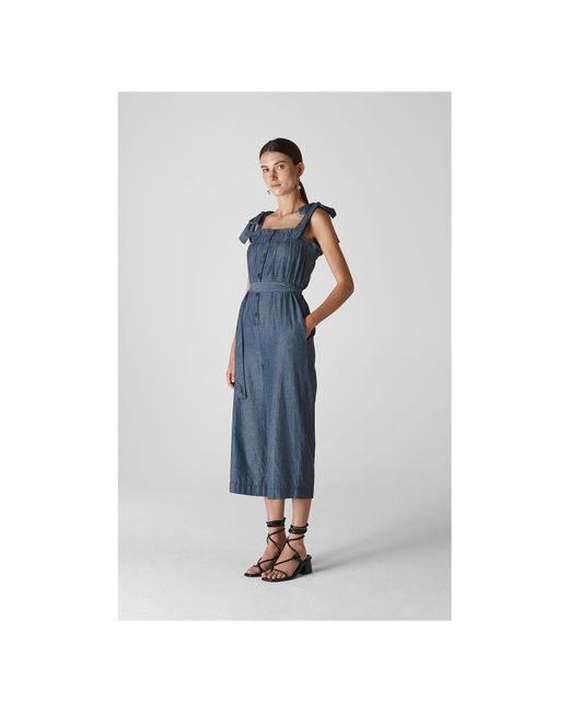 7c90be286346 ... Whistles - Blue Tie Chambray Jumpsuit - Lyst ...