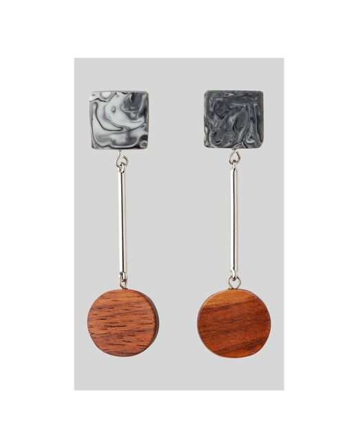 Whistles - Multicolor Wood And Marble Drop Earring - Lyst