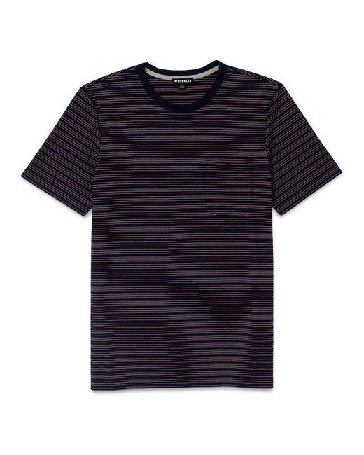 Whistles - Blue Fine Striped T-shirt for Men - Lyst