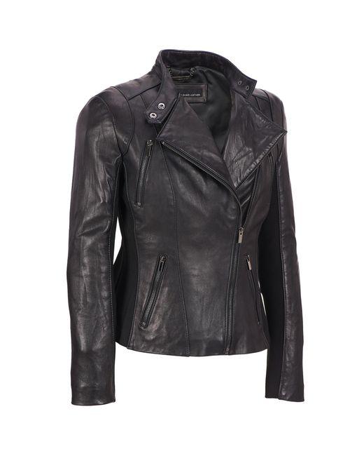 Wilsons Leather - Black Plus Size Knit Inset Asymmetrical Lamb Scuba W/ Zip Detail - Lyst