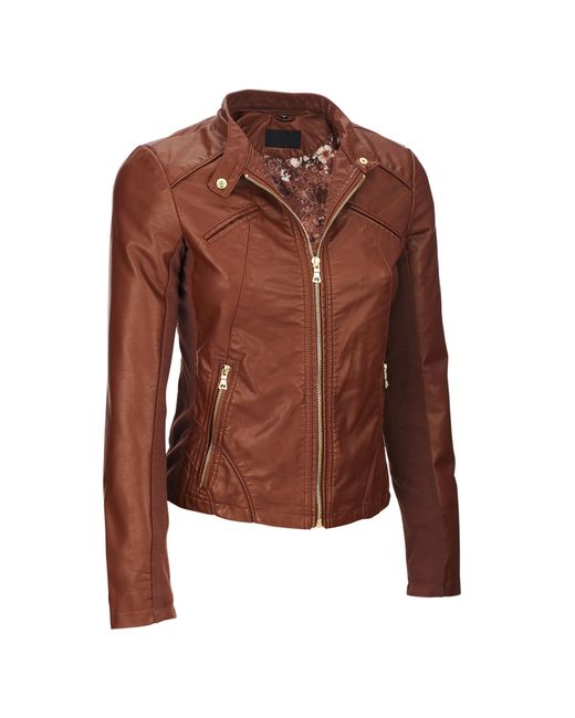 Wilsons Leather - Brown Web Buster Designer Brand Snap-tab Collar Faux-leather Jacket W/ Knit Panels - Lyst