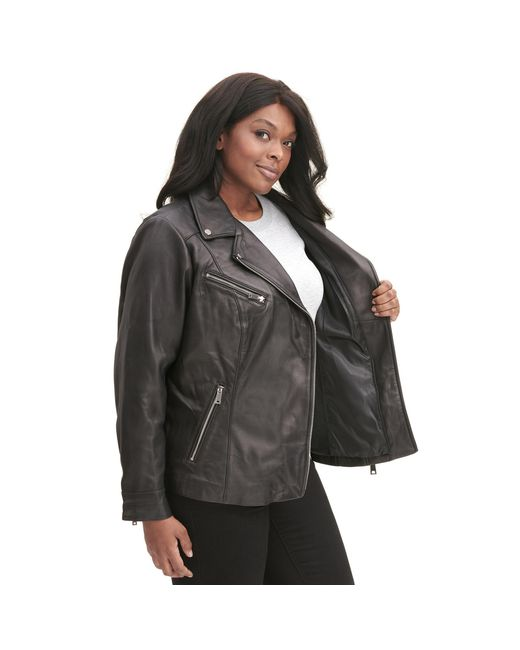 0c13cdd03e1 ... Wilsons Leather - Black Plus Size Designer Brand Asymmetrical Zip  Leather Jacket W  Metallic Details ...