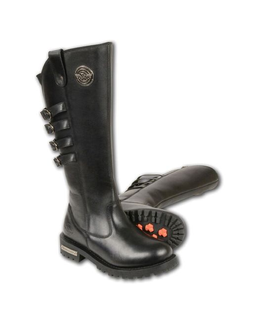 "Wilsons Leather - Black Milwaukee Leather 15"" High Rise Leather Riding Boot W/ 4 Calf Buckles - Lyst"