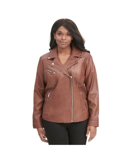 Wilsons Leather - Brown Plus Size Designer Brand Asymmetrical Zip Leather Jacket W/ Metallic Details - Lyst