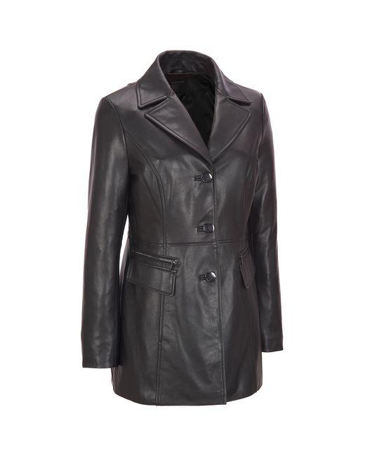 Wilsons Leather - Black Plus Size Button Front Leather Jacket W/ Zipper Detail Pockets - Lyst