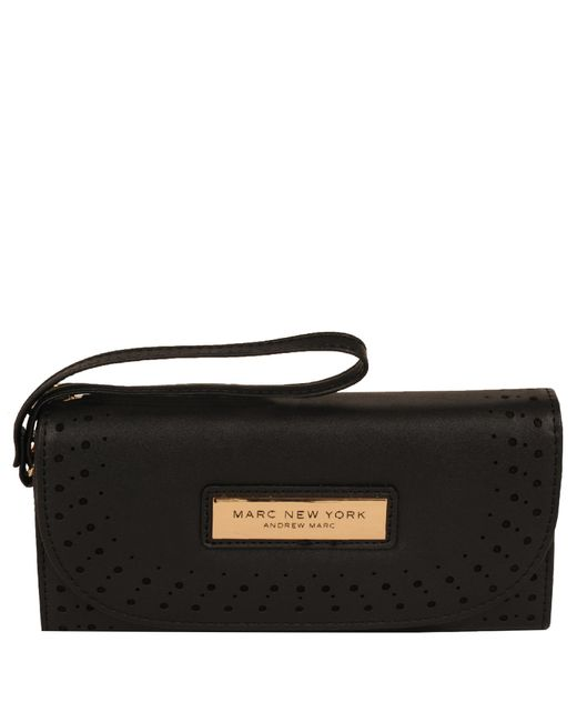 Wilsons Leather - Black Marc New York Perforated Flap Over Faux-leather Wallet - Lyst