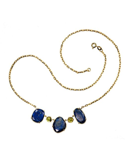 Xanthe Marina | Blue Lapis Lazuli & Peridot Gold Necklace | Lyst