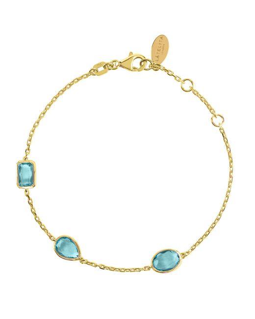 Latelita London - Metallic Venice Bracelet Gold Blue Topaz - Lyst