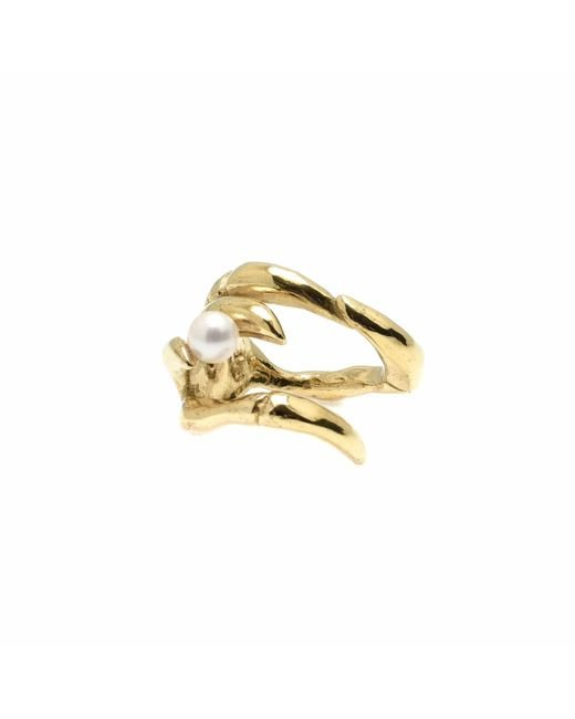 Kim Keohane - Metallic Large Gold Claw Ring With Pearl - Lyst