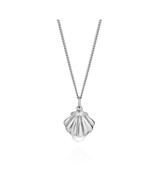 Lee Renee | Metallic Shell And Pearl Necklace Silver | Lyst