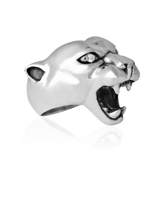 Strange Fruit | Metallic Panther Ring Silver With Diamond | Lyst