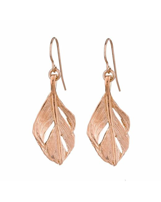 Chupi - Metallic I Can Fly Midi Swan Feather Earrings Rose Gold - Lyst