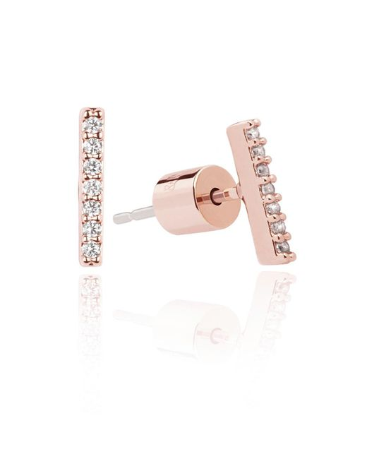 Astrid & Miyu - Pink Hold On Small Bar Earrings In Rose Gold - Lyst