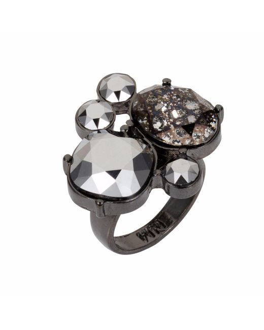 Nadia Minkoff - Metallic Kate Cocktail Ring Gunmetal - Lyst