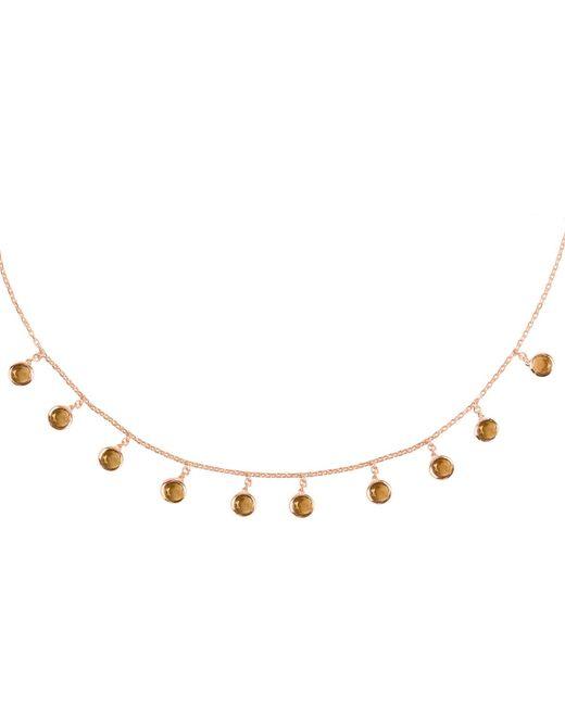 Latelita London - Metallic Florence Round Gemstone Necklace Rosegold Smokey Quartz - Lyst