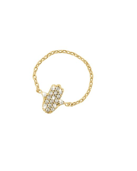 Talia Naomi | Metallic Pavé Hamsa Chain Ring | Lyst